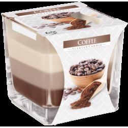 Trójkolorowa świeca w szkle Coffee Kawa