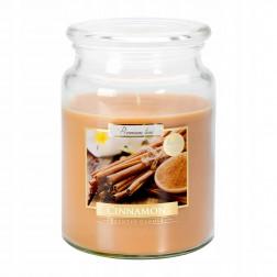 Duża Świeca Zapachowa w Szkle z Wieczkiem Cinnamon Cynamon