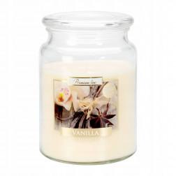 Duża Świeca Zapachowa w Szkle z Wieczkiem Vanilla Wanilia
