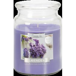 Duża Świeca Zapachowa w Szkle z Wieczkiem Lavender Lawenda