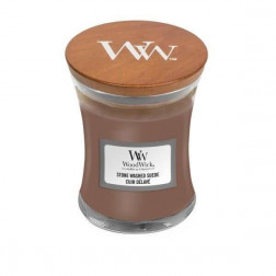 WoodWick Stone Washed Suede Mała Świeca Skóra i Zamsz