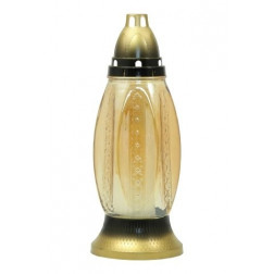 Znicz Szklany Kwiaty Opalizujący Złoty Duży Luks 45h!