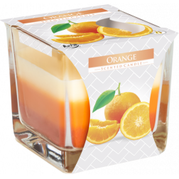 Trójkolorowa Świeca w Szkle Bispol Orange | Pomarańcza
