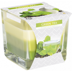 Trójkolorowa Świeca w Szkle Bispol Green Tea | Zielona Herbata