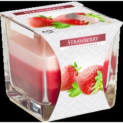 Trójkolorowa Świeca w Szkle Bispol Strawberry | Truskawka