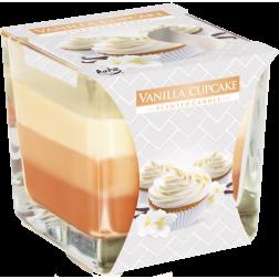 Trójkolorowa Świeca w Szkle Vanilla Cupcake | Babeczka Waniliowa
