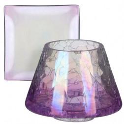Lampa Zestaw Savoy Crackle Glass klosz + podstawka do małych świec Yankee