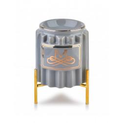 Kominek zapachowy Element na nóżkach ceramiczny szaro-złoty