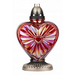 Znicz Miłość Czerwone Tęczowe Szkło LUKS