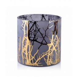 Szklany Świecznik Odette Gold na świece typu walec 15x15