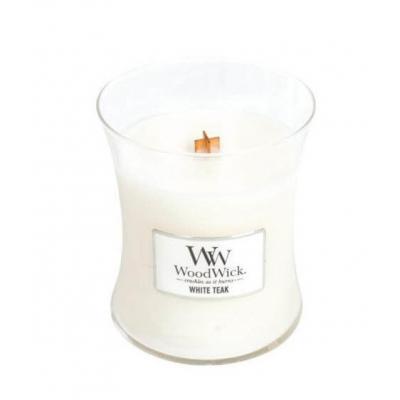 Średnia świeca zapachowa White Teak marki Woodwick