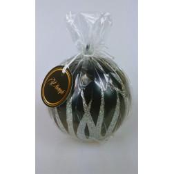 Świeca świąteczna Boże Narodzenie kula fi 100 mm kolor czarno-srebrny