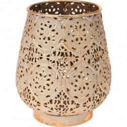 Metalowy świecznik osłonka styl orientalny złoty 14cm