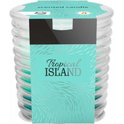 Świeca trójkolorowa w szkle prążkowanym TROPICAL Island