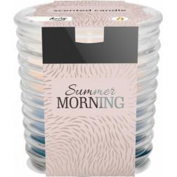 Świeca trójkolorowa w szkle prążkowanym Summer Morning