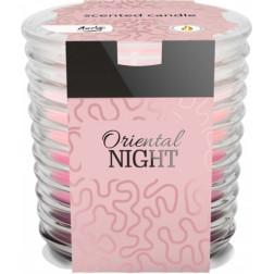 Świeca trójkolorowa w szkle prążkowanym Oriental Night